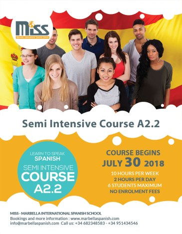 Get in touch with us and begin to speak spanish.. Our Semi Intensive Course Starts Soon!!! Course Begins 30th July 2018.. For more information contact us: +34 +34 951 434 546 682 348 583 info@marbellaspanish.com
